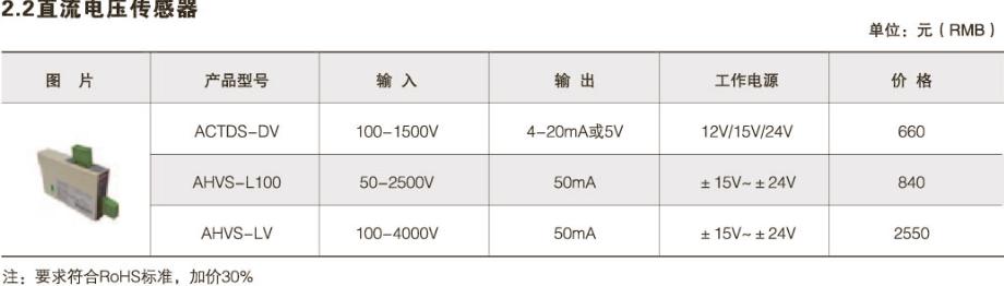 直流电压传感器价格
