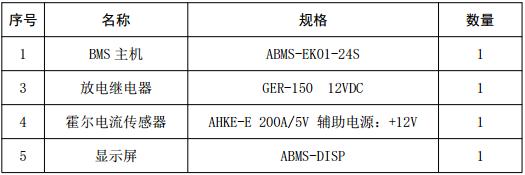 锂电池管理系统配置清单
