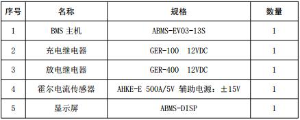 锂电池管理系统清单